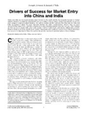 Week 5-Drivers of Success for Market Entry into China and India