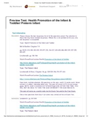 Quiz 4 Health Promotion of the Infant & Toddler & Preterm Infant