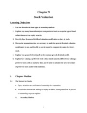 Lecture 9 on Stock Valuation