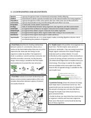 Ecology and Evolution Notes
