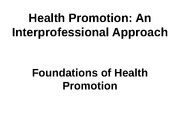IPE350 Health Promotion Foundations Spring 2012