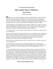 Albert Einstein - Ether And The Theory of Relativity