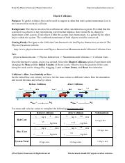 Elasticcollisions Pdf From The Physics Classrooms Physics