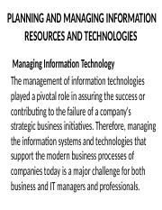 9 -PLANNING & MANAGING IS TECHNOLOGIES (2)