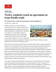Twelve countries reach an agreement on trans-Pacific trade _ The Economist