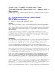 Application of Design of Experimet (DOE) Techniques to Process Validation in Medical Device Manufact