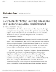 New Limit for Smog-Causing Emissions Isn't as Strict as Many Had Expected - The New York Times