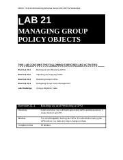 Lab Worksheet Lesson 21 Managing Group Policy Objects