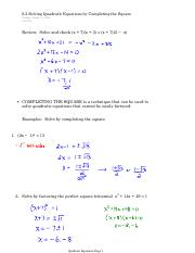 6.2 Solving Quadratic Equations by Completing the Square