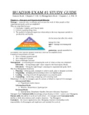 BUAD309 exam 1 study guide
