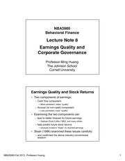 Lecture 8 - Earnings Quality and Corporate Governance(1)