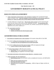 Econ 318_F2015_Chapter_011_Government Budgets  Fiscal Policy-2