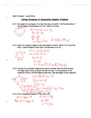 4.9 Perimeter and Consecutive Number Problems