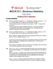 MGCR 271 Fall2014 Problem Set 5 Solutions