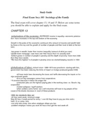 Final exam study guide Ch. 13,14,15