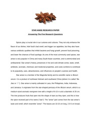 Star Anise Research Paper