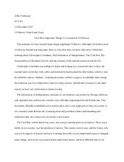 US History Final Exam Essay