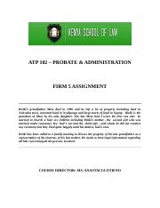 PROBATE & ADMINISTRATION - FIRM 5(2)
