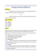Drugs and its Effects