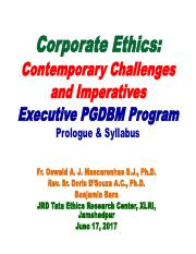Chapter 00 - Corporate Ethics Syllabus - Managerial Ethics - Exexutive PGDBM Program - June 15, 2017