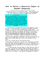 How to Write a Reaction Paper or Reader Response
