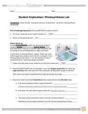 gizmo photosynthesis lab activity a answer key
