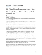 Oil Prices Slip on Unexpected Supply Rise