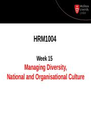 Managing Diversity and Culture