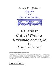 A Guide to Critical Grammar and Style