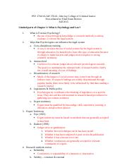 PSY 370-01 Final exam review Fall 2015