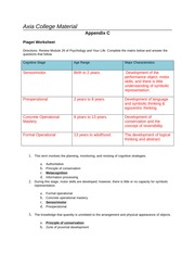 PSY 201 - Week 5 - Assignment - Piaget Worksheet