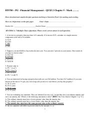 FIN700 - QUIZ 2 (SOLUTIONS to Homework) - Ross, et al -  Chapter 5 - T0215