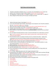 Earth Science Unit Test Study Guide 2015 Answers