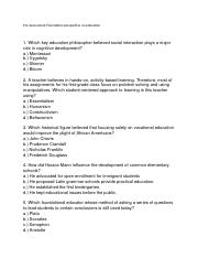 Pre-Assessment Foundation Perspectives of Education pdf - Coaching