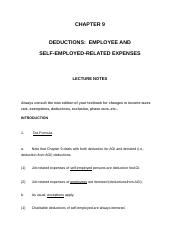 IT Chapter 9 Deductions: Employee and Self-Employed-Related Expenses notes.docx