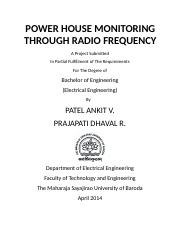 POWER HOUSE MONITORING THROGH RADIO FREQUENCY