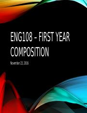ENG108 – First Year Composition 112316