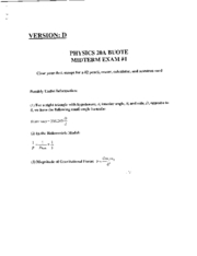 Physics20A  S02 MIDTERM EXAM - Version D