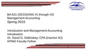 Sessions 1 -2 Introduction to Costs and Management Accounting