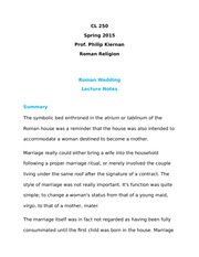 CL250 Roman Wedding Research Paper