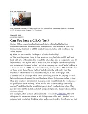Can you pass a ceo test