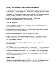 Assignment Sheet for Argumentative Essay(1)