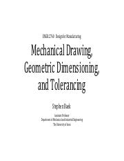 ENGR2760_L03 Mechanical Drawing & Tolerancing