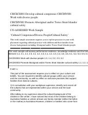 Work Sample. CHCECE001 Develop cultural competence CHCDIV001 Work with diverse people.docx