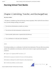 Chapter 2_ Admitting, Transfer, and Discharge(Free) _ Nursing School Test Banks