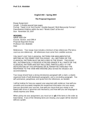 EN101 Argument Proposal Essay Assignment (SI) FALL 2007