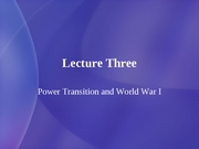 3 Power Transition and World War I