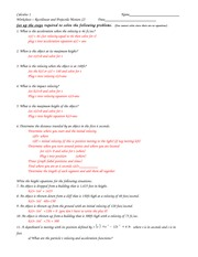Projectile motion practice problems - Calculus 1 Worksheet ...