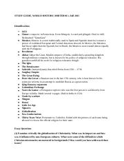 history 102 exam 1 STUDY GUIDE