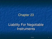 B & S CH 23 - Liability for Negotiable Instruments